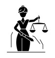 justice statue icon black vector image