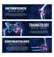 medical banners orhtopedics traumatology vector image