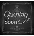 Opening Soon written on chalkboard vector image