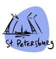St Petersburg Russia drawbridge Neva vector image