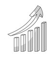 statistics bars with arrow vector image