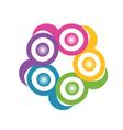 Teamwork in a hug symbolic logo vector image