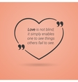 Quotation Mark Speech with love heart Quote sign vector image