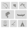 monochrome set with american indian icons vector image