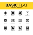 Basic set of PC chip icons vector image