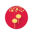 Chinese lantern and cherry blossom flat icon vector image