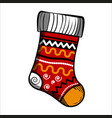 color sketch christmas sock vector image