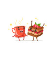 dancing cup of coffee and piece of cake with vector image