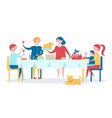 family at table has delicious christmas dinner vector image