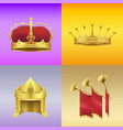 gold kings crowns and chimneys set vector image