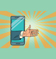 greeting handshake open palm in the smartphone vector image