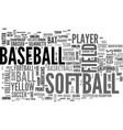 Softball word cloud concept vector image