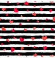 Stripe Pattern Black and White with Painted Hearts vector image