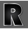 Metal grid font - letter R vector image
