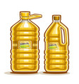 2 big yellow plastic bottles with corn oil vector image