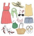Fashion casual woman summer dress clothes and vector image