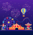 Amusement park at night vector image