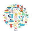 baby flat infographics icons in circle - color vector image