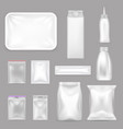 blank food packaging realistic set vector image
