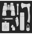 Camping equipment set Chalk vector image