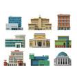 different city public buildings houses set flat vector image