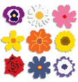 pixel flowers set vector image