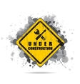 Worn road sign under construction with tools vector