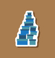 paper sticker on stylish background mountain of vector image