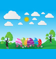Decorative easter eggs on green grass and white vector image