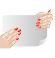 female hands and nails vector image