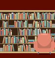 Reading Seat In Front Of A Bookcase vector image