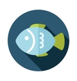 Fish flat icon with long shadow vector image