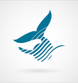 Blue whale strips logo sign isolated on white vector image vector image