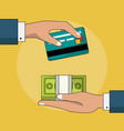 colorful background of transaction in cash and vector image