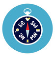 compass icon on round blue background vector image