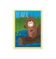 cute beaver with woodland vector image
