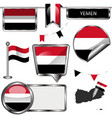Glossy icons with flag of yemen vector image