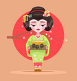 japanese geisha character hold tea vector image