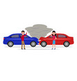 man and woman get angry and swear in car accident vector image