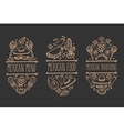 Mexican Food Sign Set vector image