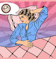 Pop art young woman with insomnia lying in bed vector image