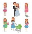 Set of wedding couple pregnant woman mother with vector image