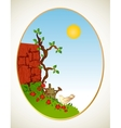 Tree grass and wall background vector image