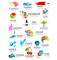 Design 3d color icon set vector image