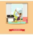 Pregnant girl doing morning exercises flat design vector image