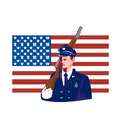 American soldier stars and stripes flag vector image