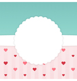 Blue and pink stripped card template with hearts vector image