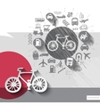Hand drawn bike icons with icons background vector image vector image