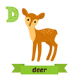 Deer D letter Cute children animal alphabet in vector image