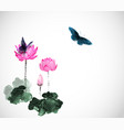 big butterflies and lotus flowers on white vector image
